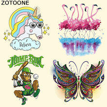 ZOTOONE Flamingo Unicorn Patch Iron on Heat Transfer for Kids Clothing Cartoon DIY Stripes Applique T-shirt Custom Sticker