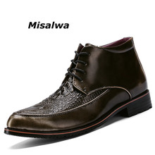 Misalwa New Luxury Brand Leather Ankle Boots Men Vintage Style Lace up Crocodile Boots 2018 Fashion Wedding Dress Men Shoes Boot