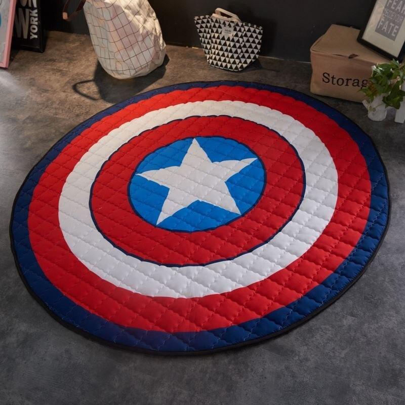 Décor à la maison Tapis Rond 150*150 cm Captain America Bouclier Jouer Tapis Patchwork Pique-Nique couverture tapetes para casa sala enfant tapis
