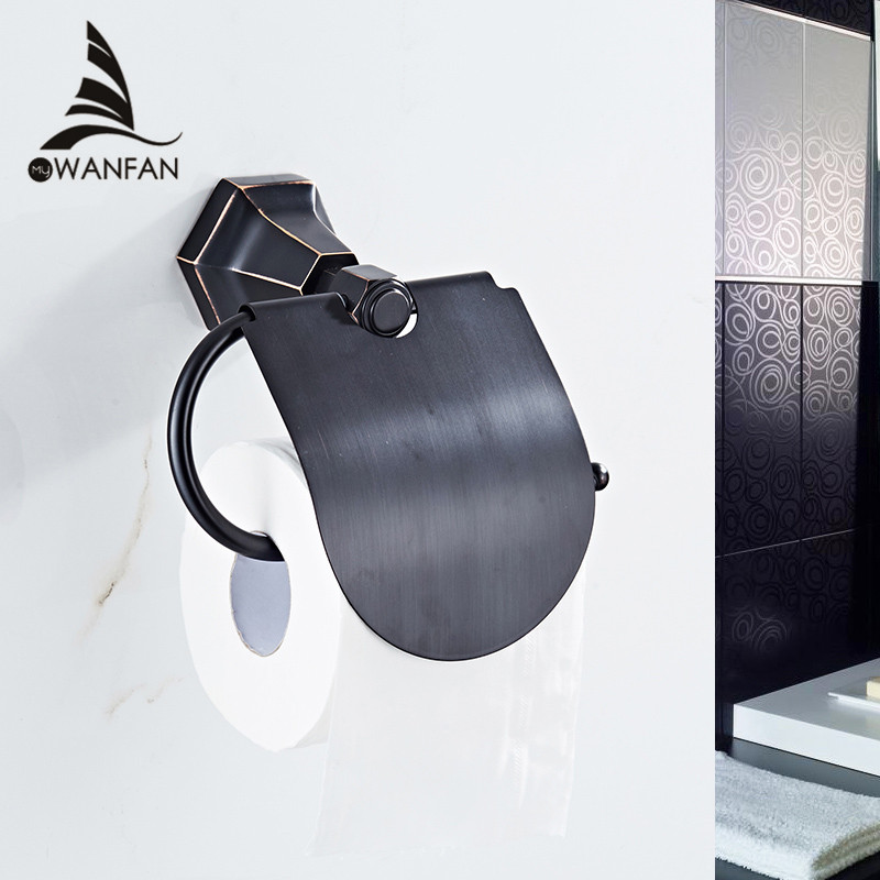 Paper Holders Brass Black Color Paper Box Roll Holder Toilet Wall Mounted Tissue Holder Bathroom Accessories Bath Hardware 93008 european black copper tissue roll holder vintage brushed toilet paper holder paper box wall mounted bathroom accessories j33