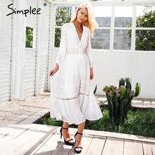 Simplee Oco out lace vestido branco mulheres botão V neck casual vestido longo 2018 Sexy praia verão vestido feminino vestidos