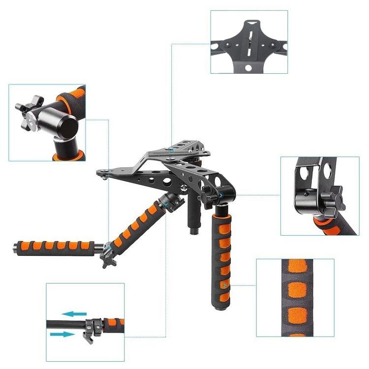 ФОТО Multifunctional Aluminum Bracket DSLR Rig Video Camera Shoulder Mount for Canon 6D 7D 5D MarkII DSLR Camera