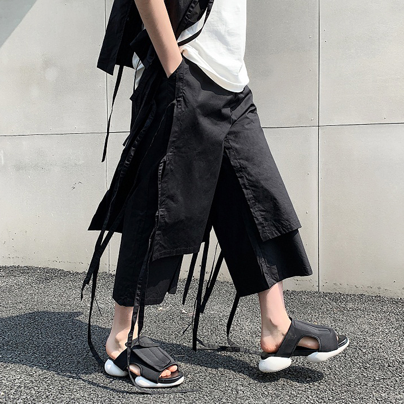 M-XL!! Summer alternative floating bandwidth Song Haren wide leg pants tide brand men's belt with skirt pants nine pants. image