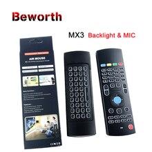 الخلفية MX3 برو ماوس هوائي مع هيئة التصنيع العسكري صوت الخلفية لوحة المفاتيح اللاسلكية 2.4G الأشعة تحت الحمراء التعلم التحكم عن بعد ل T95Z زائد X96 Mini