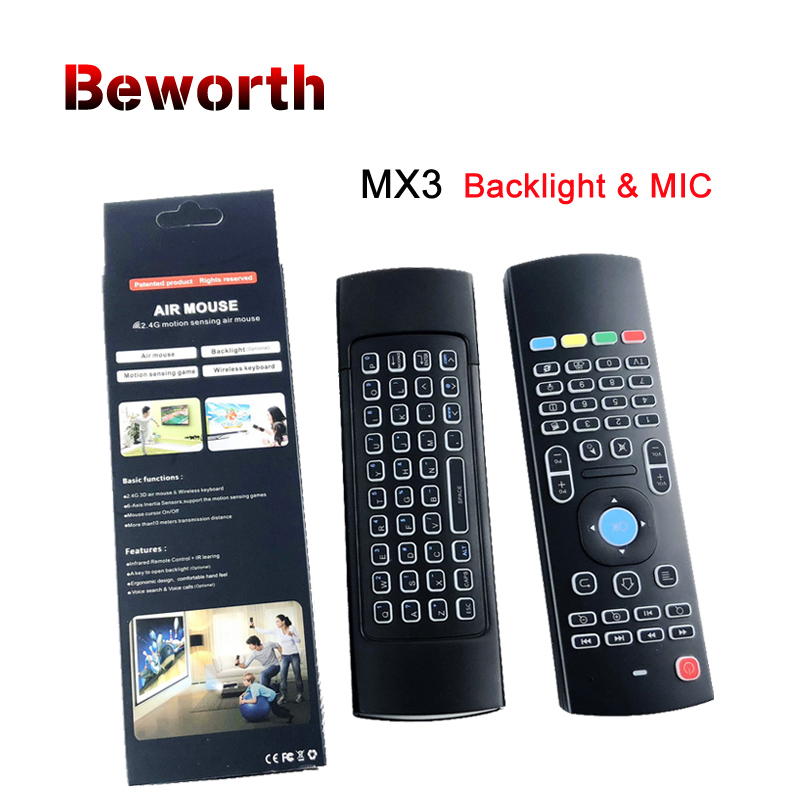 Retroiluminación MX3 PRO aire ratón con micrófono Teclado retroiluminado inalámbrico 2,4g IR Aprendizaje de Control remoto para T95Z más x96 Mini