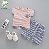 NNW Striped Pullover Short Sleeve Suit Summer New Children's Clothing for Boys and Girls Set baby Kids Short and Pants