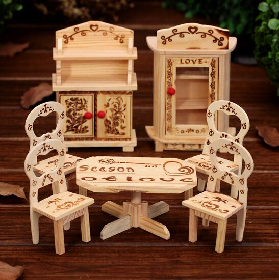 Mini Wooden Furniture Set,kids Portable Play Game Furniture,small Furniture,miniature Model Children Gift