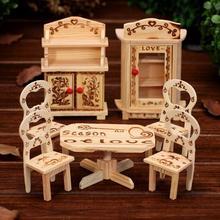 mini Wooden furniture set,kids portable play game furniture,small furniture,miniature model children gift