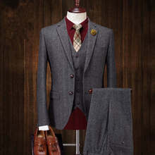 2018 Mens Vintage Suit 3 Pieces Tweed Fleck 2 Button Wool Dark Gray Custom