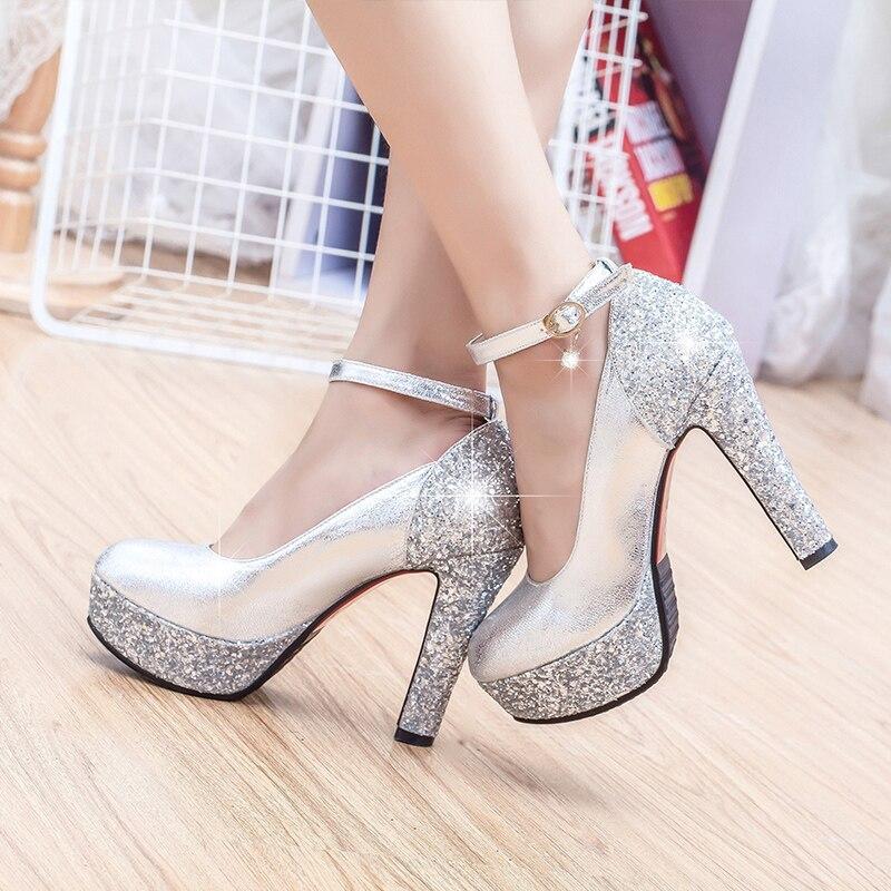 2ab07d14cdf2 Fashion high-heeled shoes thick heel platform paillette gold silver wedding  shoes bridal dress shoes formal shoes