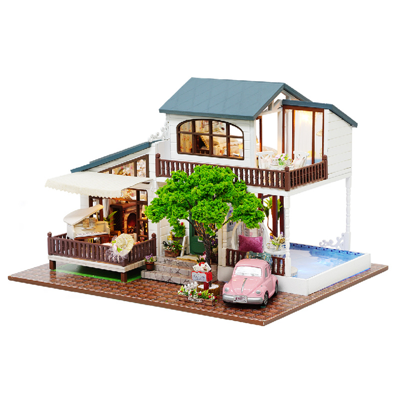 DIY Doll House 3D Wooden DollHouses Miniature With Furniture Handmade Toys For Children Gift London Holiday A039 #E d030 diy mini villa model large wooden doll house miniature furniture 3d wooden puzzle building model
