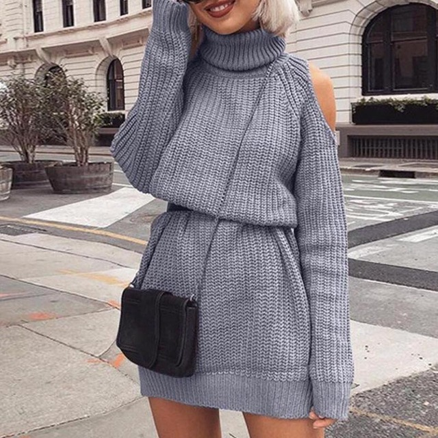 e4666c6e248 2019 Autumn Winter Cold Shoulder Knit Sweater Dress Casual Loose Female  Full Sleeves High Collar Solid High Collar Pullover Mini