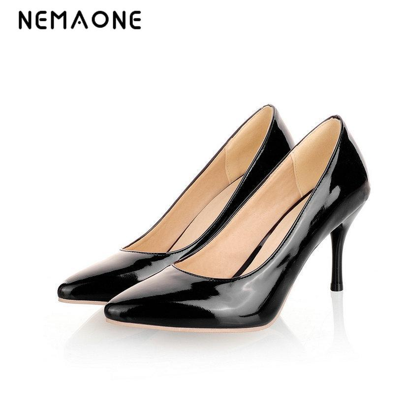 NEMAONE 2017 New Fashion high heels women pumps thin heel black red beige sexy wedding shoes large size 33-46 bar iii new black beige chevron striped women s size large l knit top $39