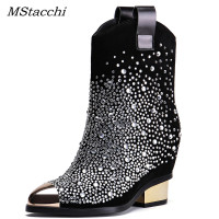 MStacchi Woman Winter Hideen Heels Rhinestone Boots Square Heels Martin Boots For Women Metal Pointed Toe Crystal Shoes Woman