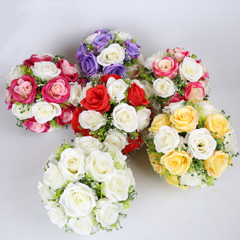 Luxurious Diameter 27cm Wedding Round flower decoration many color flower for road lead or wedding pillar column 10pcs/lot