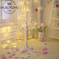 Светодиодный светильник HUSUYUHU из белой березы для рождественской вечеринки, украшения для помещений и улицы, теплый белый светильник с вето...