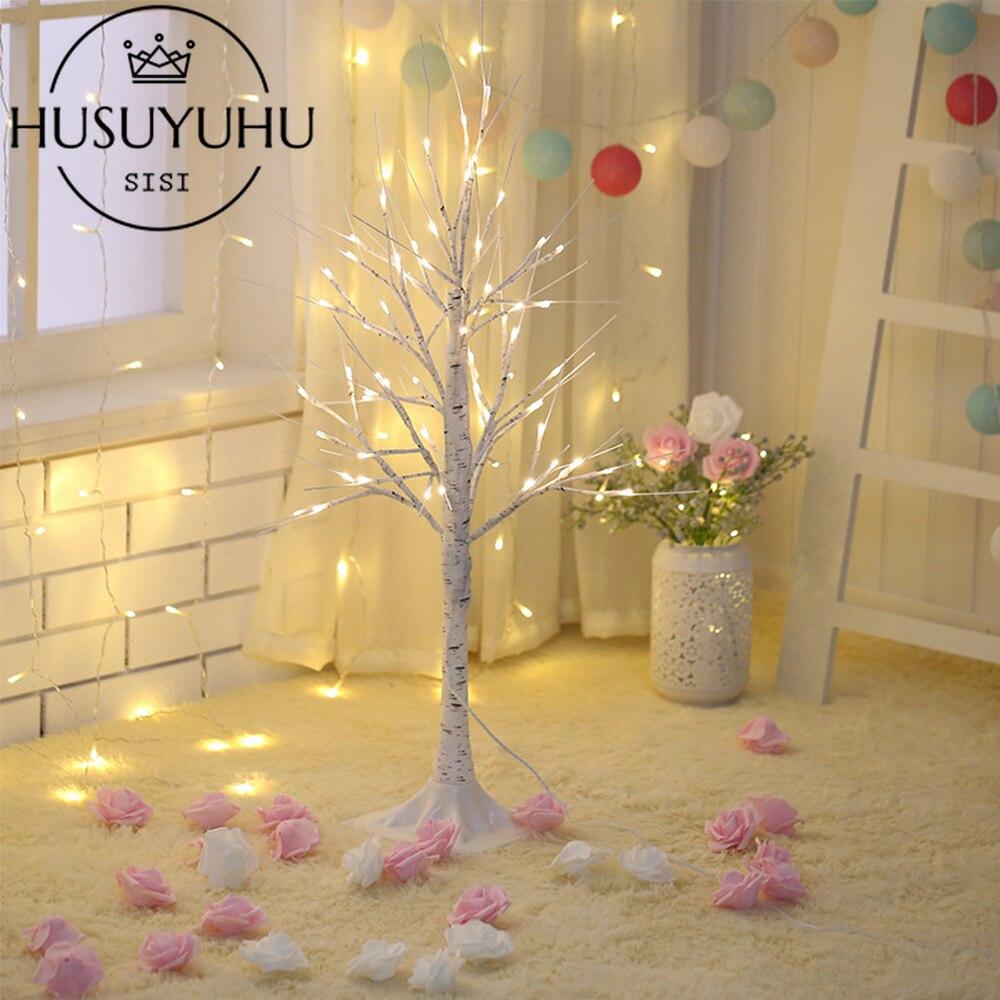 Светодиодный светильник HUSUYUHU из белой березы для рождественской вечеринки, украшения для помещений и улицы, теплый белый светильник с веточкой, высота 90 см, 150 см