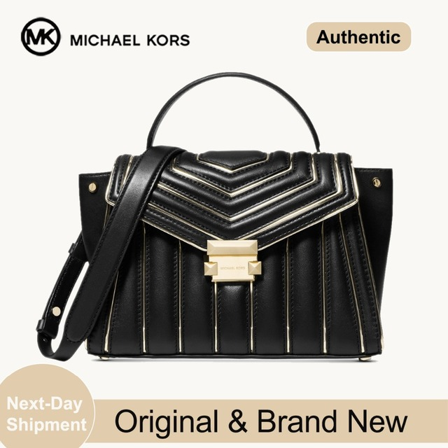 Michael Kors Whitney Quilted Leather Outlined Top Handle Satchel  (Black/Gold) Luxury Handbags For Women Bags Designer by MK