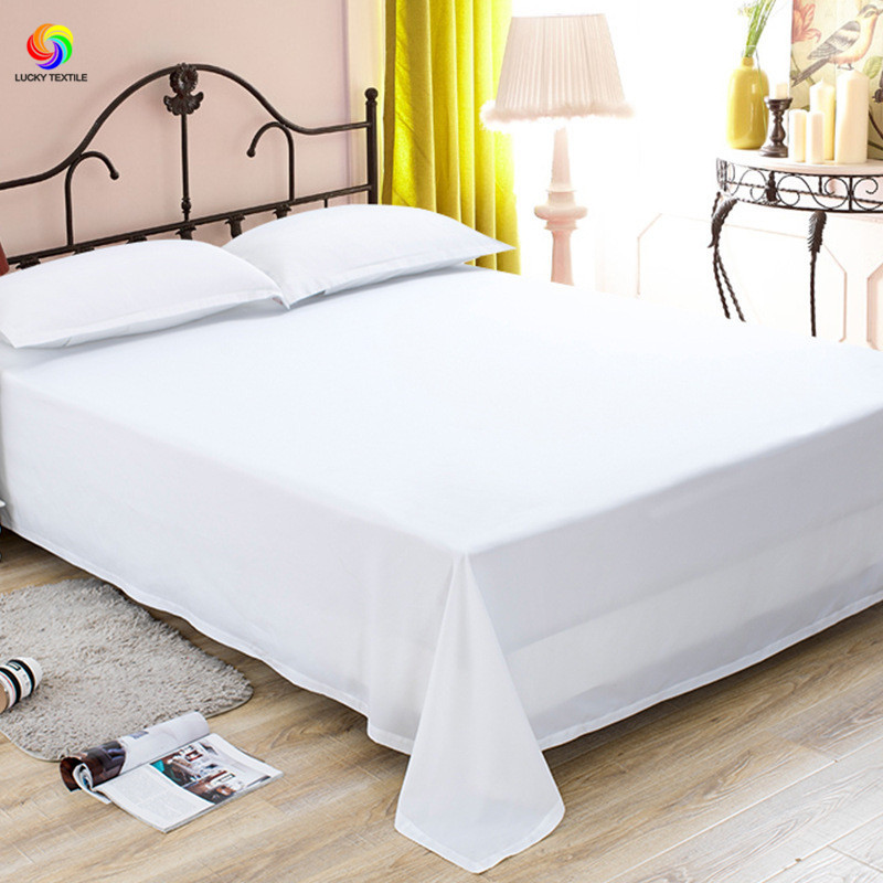 lucky textile 1pc flat sheet white queen king size 100 polyester solid bedclothes mattress cover. Black Bedroom Furniture Sets. Home Design Ideas