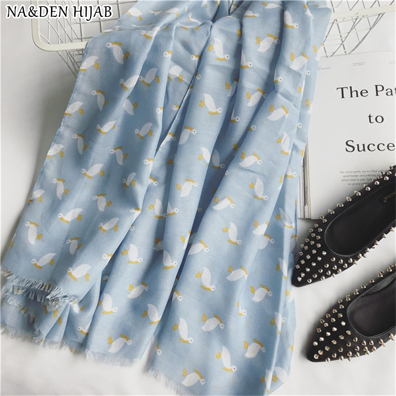 NEW fashion animal print scarf pelican pattern shawl soft blue color fashion hijab women scarves and shawls brand islamic hijabs