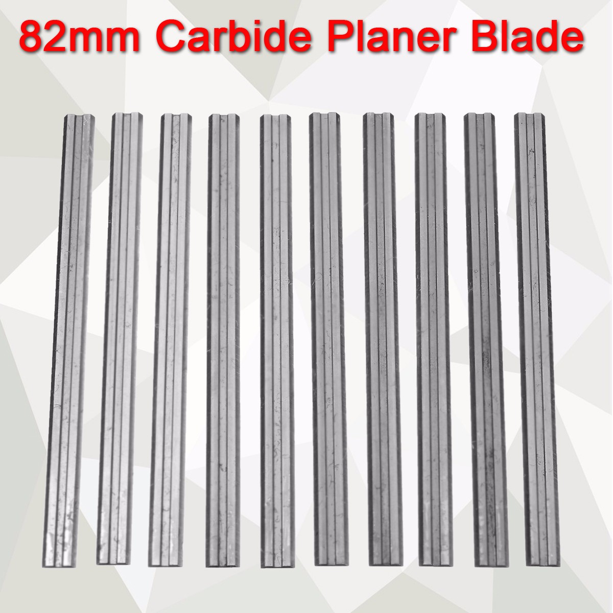 10Pcs 82mm X 5.5mm Reversible Carbide Planer Blades For Cutting Soft Hard Woods Ply-wood Board Woodworking Power Tool