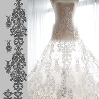 High End Elegant Fine Workmanship Tulle Mesh Embroidered Bright White Wedding Lace Fabric With Cording Bridal
