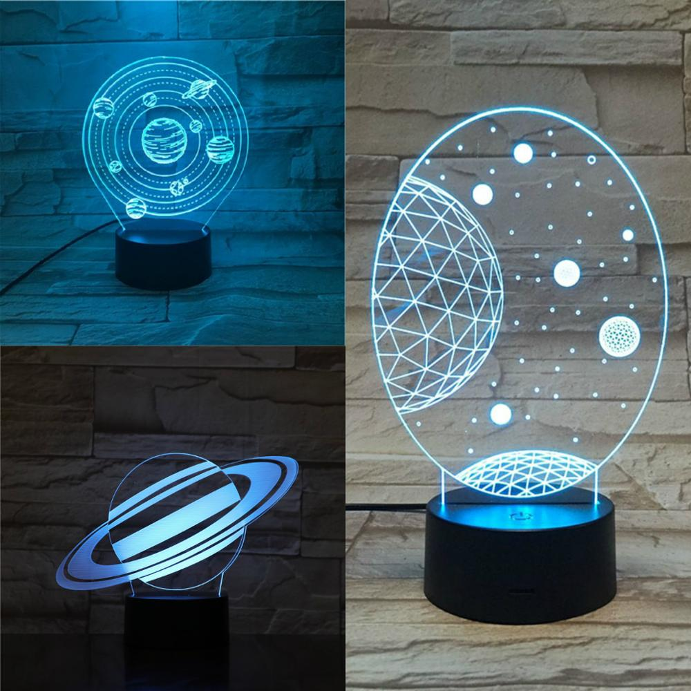 Planet <font><b>LED</b></font> <font><b>3D</b></font> <font><b>Lamp</b></font> 7 Colors Changing Illusion Night Light Kids Lover Birthday Holiday Gifts Home Decor Flashing Starry Sky Lampa image