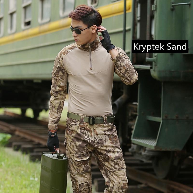 Summer Outdoor Tactical Uniform Kryptek Camouflage Suit Men Army Short Combat Shirt Cargo Pants Paintball Hunting