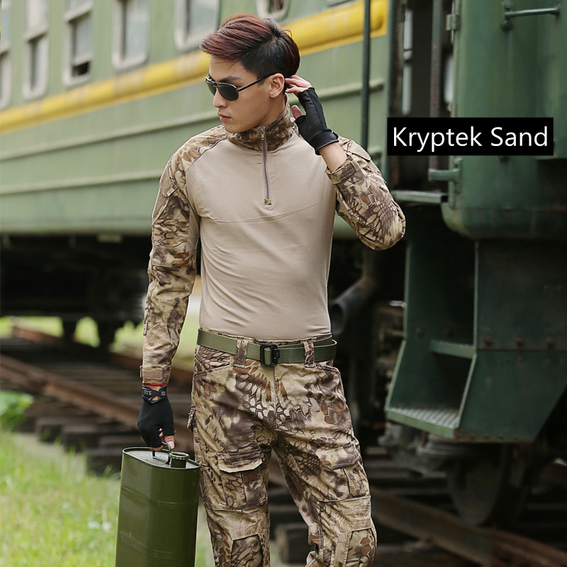 Summer Outdoor Tactical Uniform Kryptek Camouflage Suit Men Army Short Combat Shirt &Cargo Pants Paintball Hunting Clothes fire maple sw28888 outdoor tactical motorcycling wild game abs helmet khaki