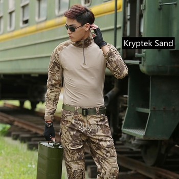 Summer Outdoor Tactical Uniform Kryptek Camouflage Suit Men Army Short Combat Shirt &Cargo Pants Paintball Hunting Clothes