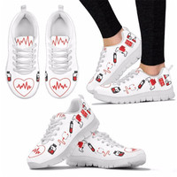 Nurse Hospital Casual Work Flats Female Heart Printed Loafers Summer Women's Breathable Sneaker Mesh Shoes For Girls Ladies