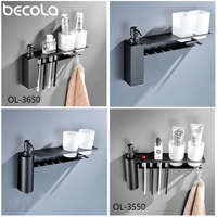 304 Stainless steel Multifunctional toothbrush holder Bathroom Family Wall Stand Toiletries Soap liquid applicator + Double cup