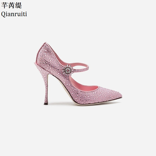 Qianruiti Pink Studded Crystal High Heels Wedding Shoes Sexy Pointed Toe Women Pumps Ankle Strap Stiletto Heels Women Shoes new arrival blue and white porcelain pattern stiletto heels pretty women glittering crystal pointed toe pumps high quality shoes