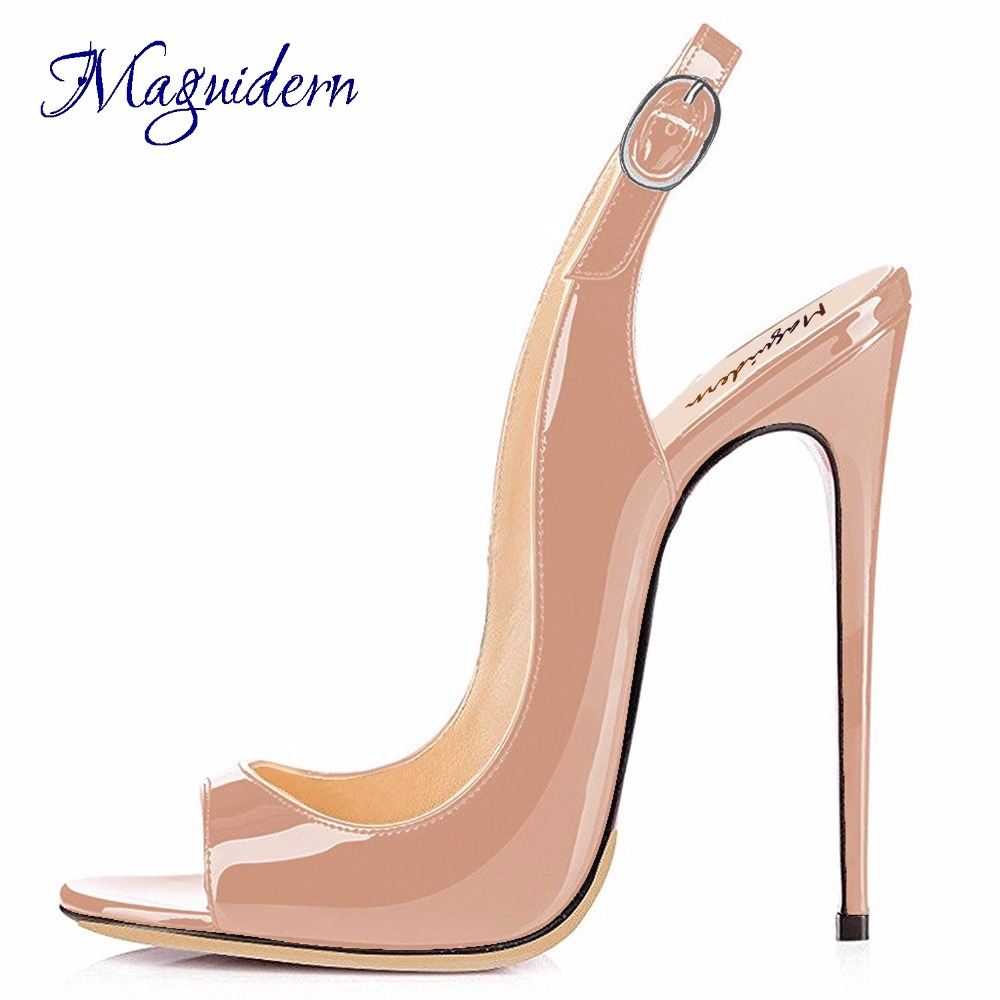 Maguidern 5 Inches High Heel Sandals,Patent Leather Peep Toe Shoes Ankle Metal Buckle Strap Stiletto Heel Slingbacks Large Size