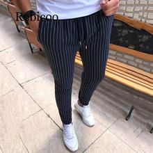 New Striped Pencil Pants Mens 2018 Casual Drawstring Trousers Male Street Fashion Breathable All-match