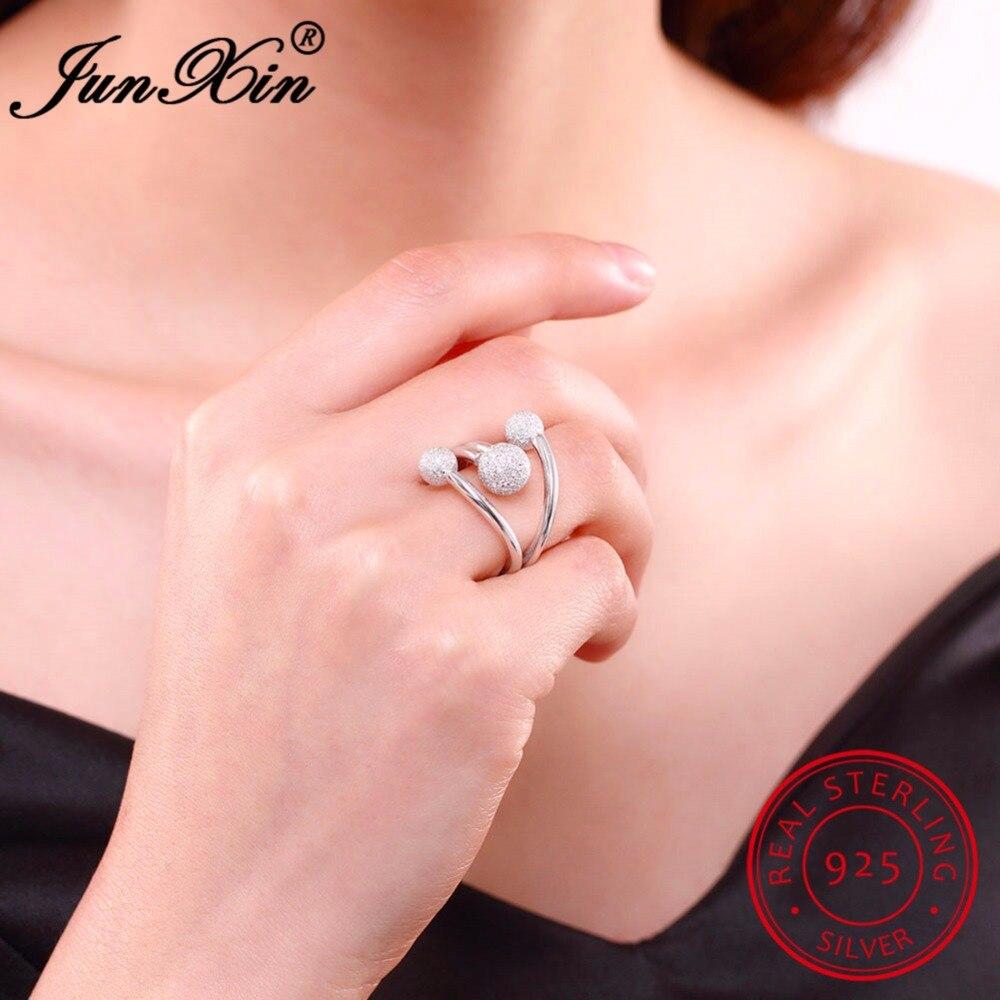 JUNXIN Female Girls Finger Rings Ajustable Ring 100% Real 925 ...