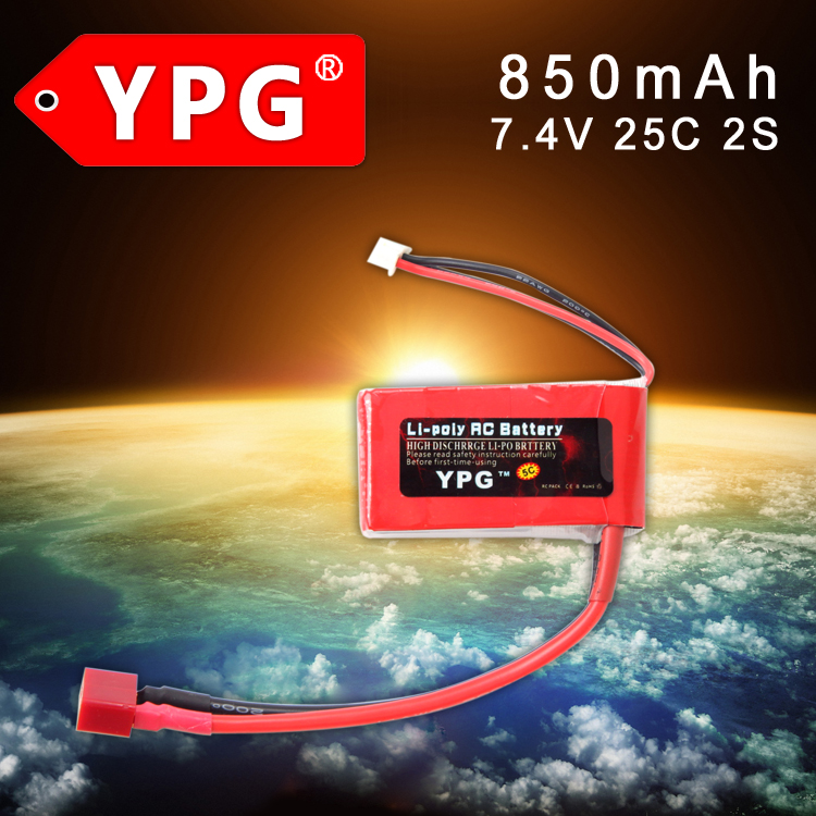 2Pcs / 4Pcs YPG 7.4V <font><b>850mAh</b></font> 25C <font><b>2S</b></font> Grade A <font><b>Lipo</b></font> Li-poly Battery For RC Boat & Car image