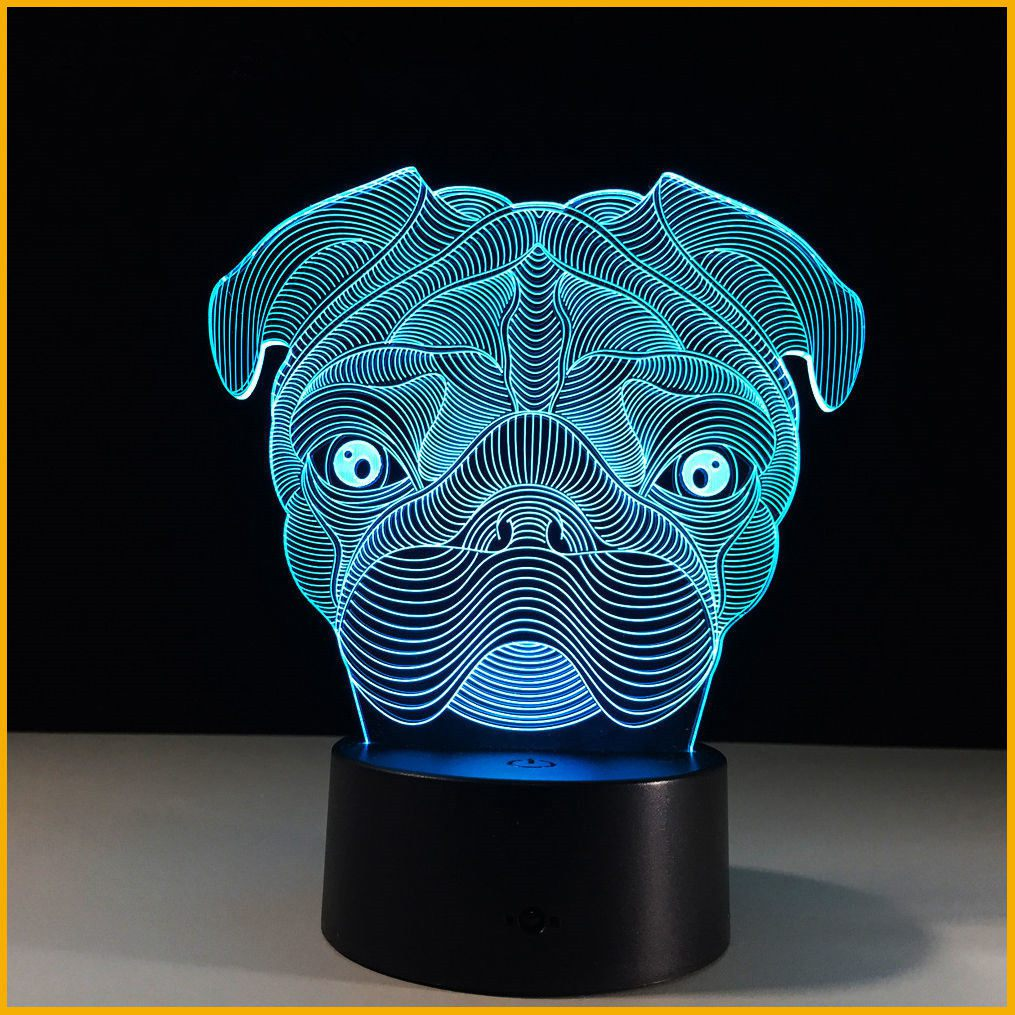 Promotion! 3D Illusion Cute Puppy Pug Dog Night Light 7 Color Change LED Desk Table Light Lamp For kids Children