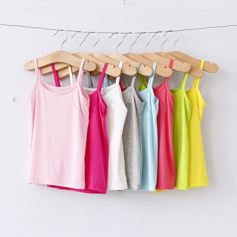 цены V-TREE Kids Underwear Model Cotton Girls Tank Tops Candy Colored Girls Vest Children Singlet Tops Undershirt for 2-12 Years