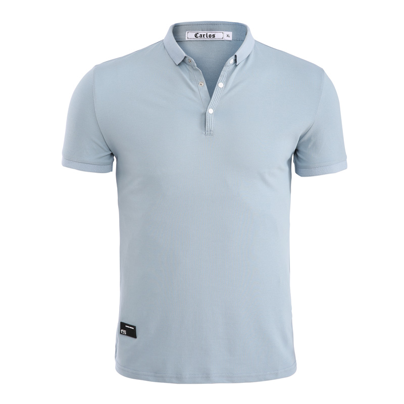 Jeetoo Summer Casual High Quality Mens Polo Shirt Cotton Solid White Turn-Down Collar Blue Color Shirt Men Camisa Polo Homme