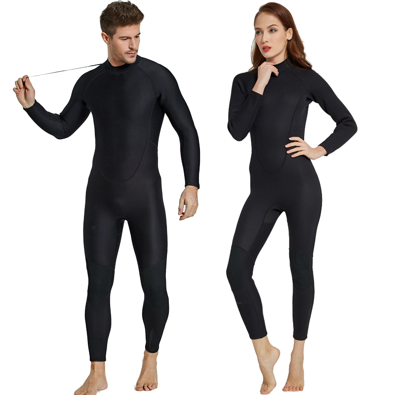 2mm Mens Women Full Black Wetsuit Neoprene Couple Fullbody One piece Long Sleeve Diving Suit Lovers