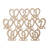 10Pcs Heart Shape 1 10 Wooden Table Numbers With Stand Base For Birthday Wedding Party Home Decoration