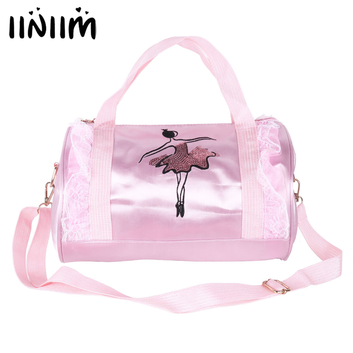 Kids Girls Adorable Ballet Dance Bag Embroidered Ballerina Dancing Duffle Bag Hand Bag Shoulder Bag with Detachable Strap