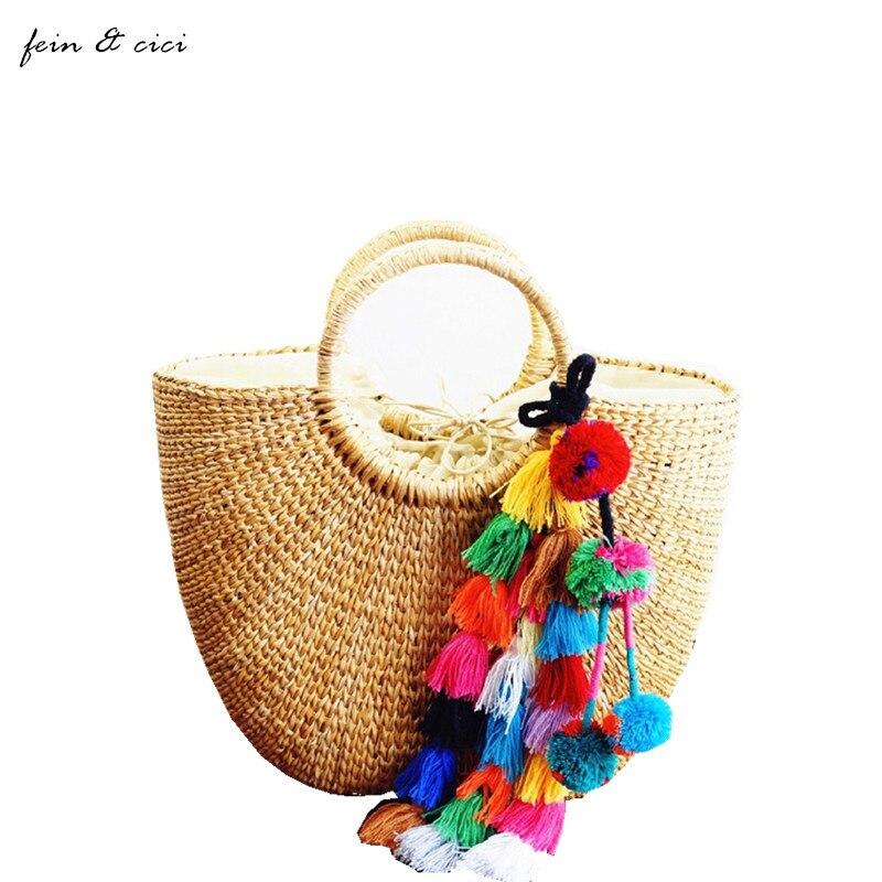 Bolsas de totalizadores del bolso de paja bolsa de playa cubo de verano con borl