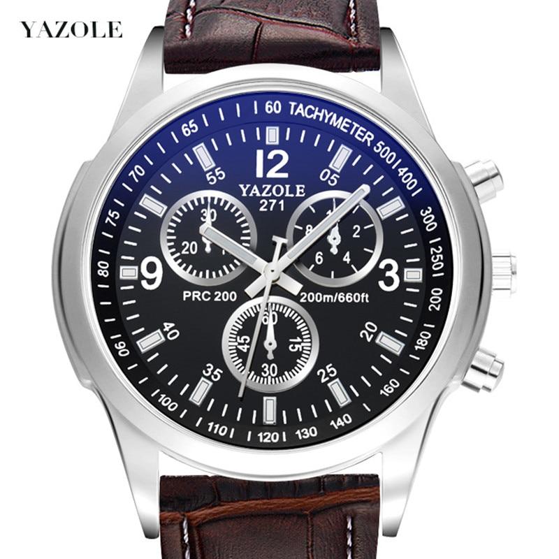 2018 Top Luxury Brand YAZOLE Men Watches Leather Clock Mens Quartz Sports Watch Men Casual Military Wristwatch relogio masculino недорго, оригинальная цена