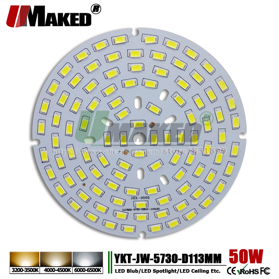 UMAKED 50W 113mm LED PCB SMD5730 ChipLED Source Aluminum Lamp plate Warm/Natural/White DIY Ceiling Lamp Bulb Bay light Spotlight 50w led pcb with smd5730 integrated ic driver aluminum plate free shipping