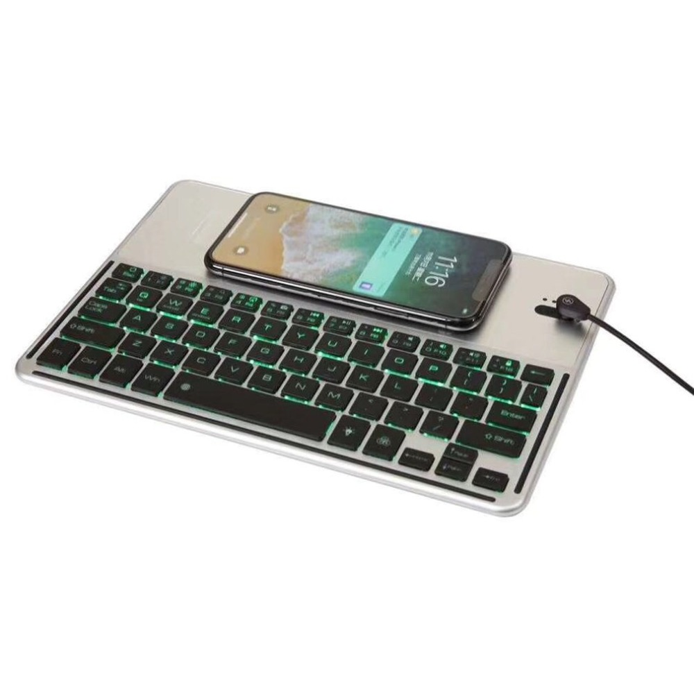 Universal Tablet Keyboard Backlit LED Wireless Bluetooth Keyboard with Wireless Charging Function for Mobile Phone itian a6 3 coils multi function qi standard wireless charger for tablet pc mobile phone black