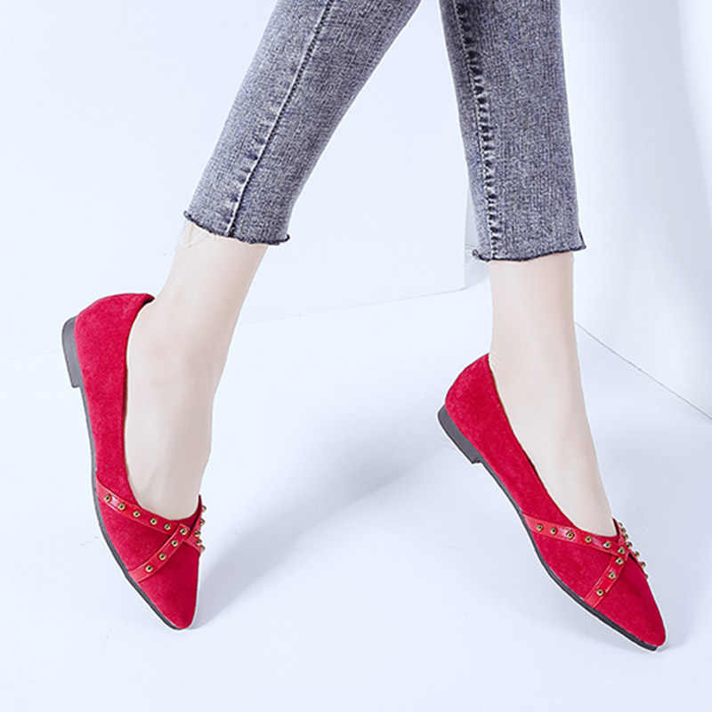 ... 2019 Spring Women Flats Rivets Pointed Toe Slip on Flat Shoes Woman  Comfortable Ladies Shoes Zapatos ... accd4e74dff2
