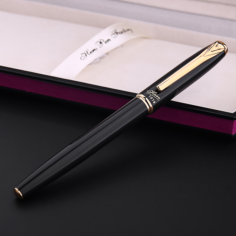 ФОТО HERO 1079 Smooth Black and Gold Clip Fountain Pen with 0.38mm Extra Fina Nib Luxury Metal Ink Pens for Finance Free Shipping
