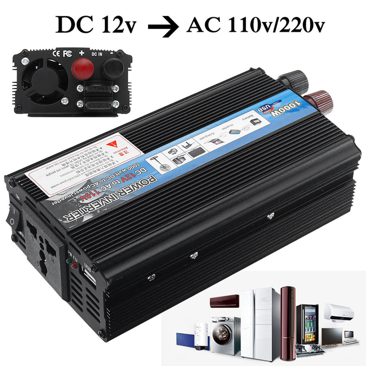 1000W Modified Sine Wave Power Inverter DC 12V to AC 110V / 220V Voltage Transformer Converter USB Charger Adapter Portable high quality dc 12 to ac 220 modified sine wave 1000w dc12v to ac 220v car power inverter with usb charger converter adapter